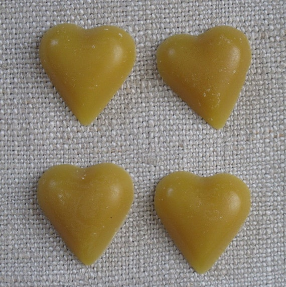 Set of 4 Beeswax Hearts by cheswick company