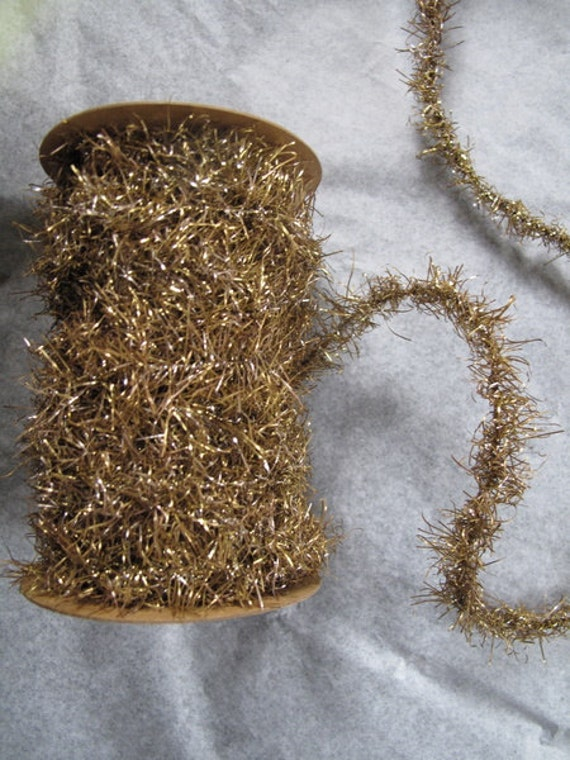 Spool of Antiqued Silver and Gold TINSEL Trim Garland  cheswickcompany