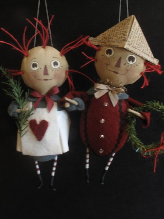 Raggedy Ann and Andy  E-PATTERN  4th in the Storybook Ornament Collection by cheswickcompany