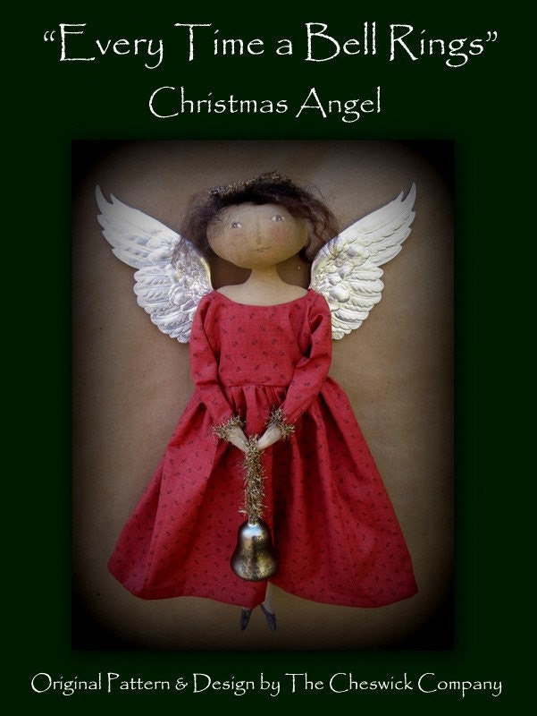 Every time a bell rings christmas angel printed pattern by