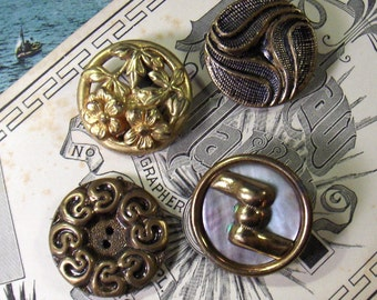 Buttons Metal Mother of Pearl Collection of Four Vintage - epsteam vestiesteam thebestvintage
