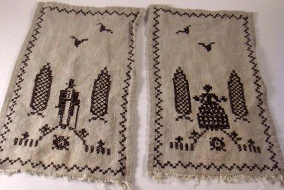 Antique Cross Stitch Graveyard Dark Linen Rustic Hand Work Man and Woman Two Piece ~ epsteam  vestiesteam thebestvintage