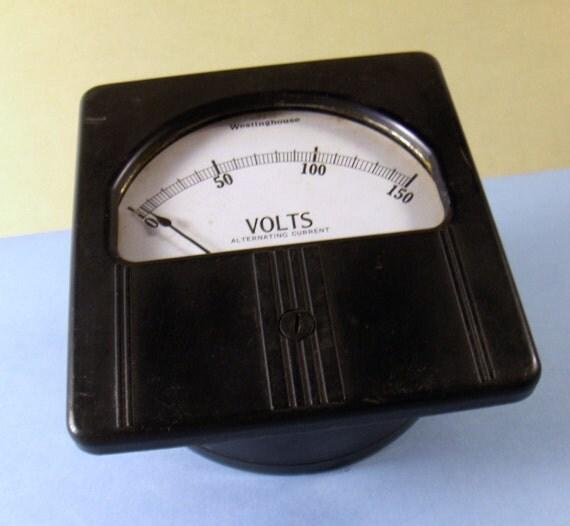 Vintage Voltage Meter Guage Scientific Alternating Current Westinghouse