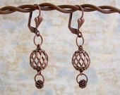 Antiqued Copper Earrings - spinning spirals and dangling wire beads - Steampunk Earrings - Copper Jewelry