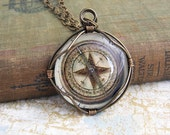 Compass Pendant of wire wrapped glass - Steampunk Jewelry - Pirate Inspired - nonfunctioning image