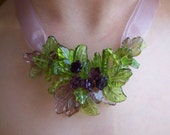 Leafy Purple Flower Necklace, purple flowers & green leaves - inspired by the flower fairies