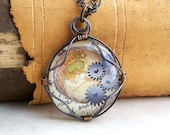 Steampunk Map Pendant: globe and gears, wire wrapped glass - steampunk necklace of the earth