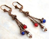 Patriotic Steampunk Earrings - red, white and blue with copper - Patriotic Jewelry - 4th of July Earrings - ElainaLouiseStudios