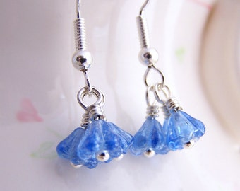 Tiny Blue Flower Earrings inspired by the Flower Fairies dancing in the sky.