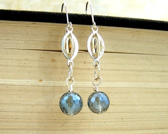 Steampunk Earrings - silver connectors and blue faceted glass beads - wire wrapped - steampunk jewelry