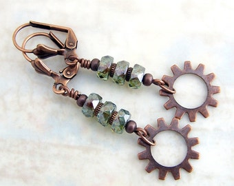 Steampunk Gear Earrings in Green - copper gears and faceted Picasso beads - Steampunk Jewelry
