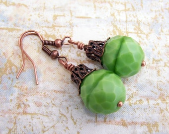 Christmas Green Earrings - Czech large glass beads with copper filigree bead caps - Victorian inspired - Christmas earrings