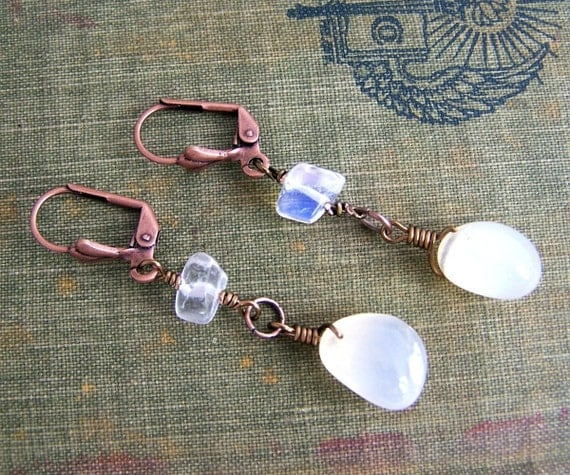 White Stone Earrings with Agate, Moonstone & Copper, wire wrapped