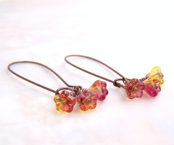 Petite Yellow and Pink Flower Earrings of Czech Glass Beads
