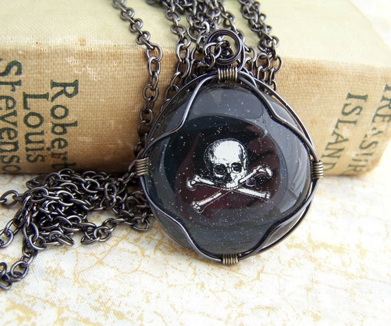 Skull and Crossbones, Pirate Pendant with a Black & White Jolly Roger wire wrapped glass cabochon - Pirate Jewelry skull men