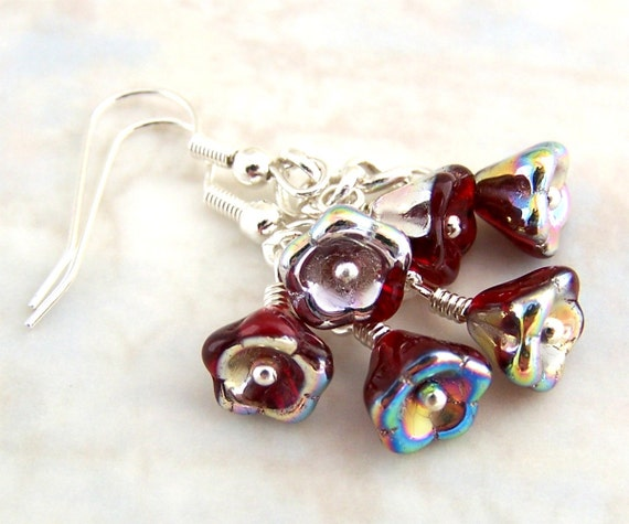 Silver and Red Flower Earrings - Czech glass beads of ruby red trumpet flowers and silver accents