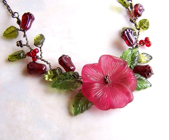 Red Flower Necklace left by the Fairies - Twisted Wire Necklace - garden necklace