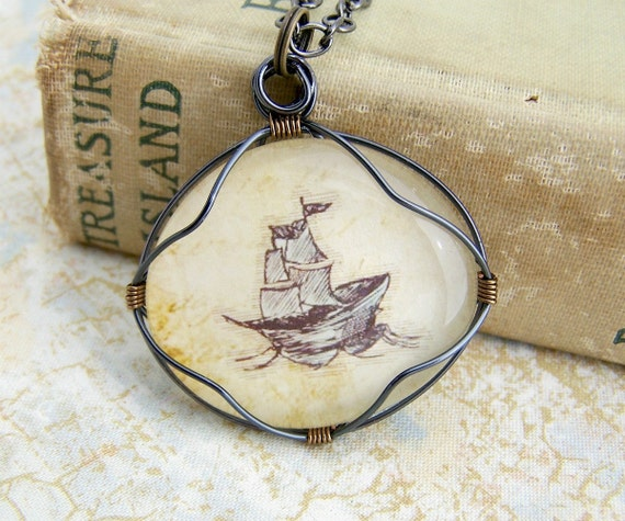 Sailing Ship Pendant - wire wrapped glass cabochon on a chain - sailing ship necklace - Pirate Ship - Pirate Jewelry