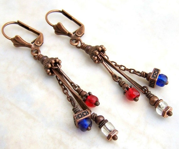 Patriotic Steampunk Earrings - red, white and blue with copper - Patriotic Jewelry - Bastille Day Earrings