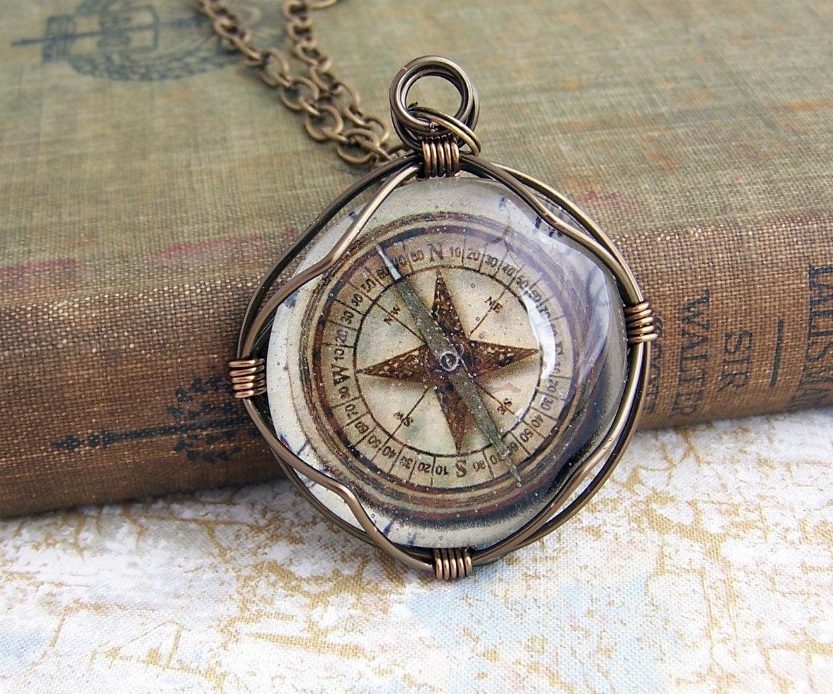 Compass Pendant of wire wrapped glass Steampunk Jewelry