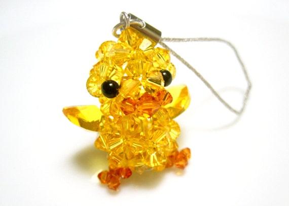 Yellow Duck Charm - Swarovski Crystal Beaded Miniature Animal Charm