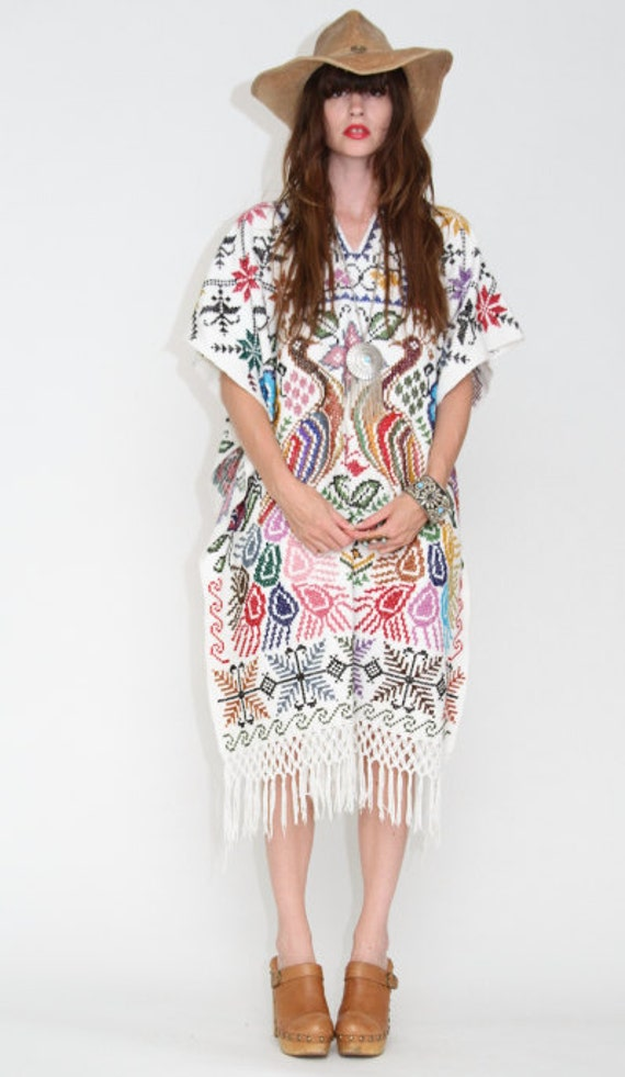 Mexican Poncho with White fringe