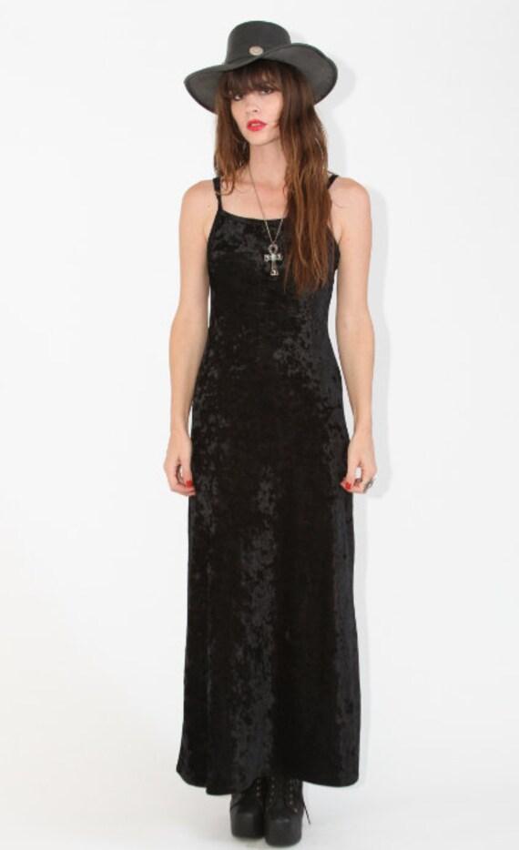 Crushed Velvet Black Maxi Dress