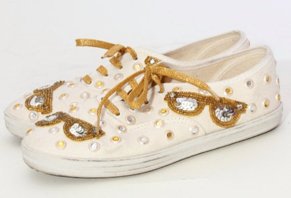 80s sequin white sneaker with gold laces