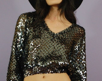 Vintage Black Sequin Top
