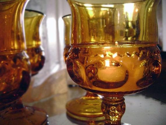 Set of 4 Amber Cordial Glasses or Votives