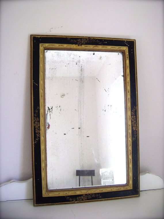 Antique Hand-Painted Wood Mirror