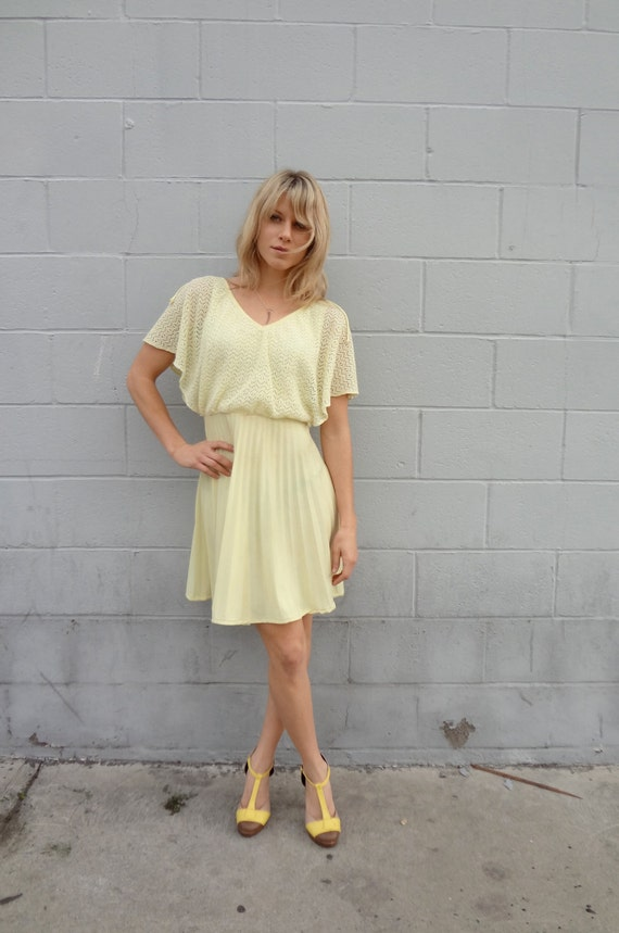 Vintage Yellow Pleated Sundress