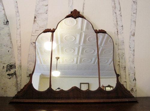 Antique Art Deco Triptych Vanity Mirror