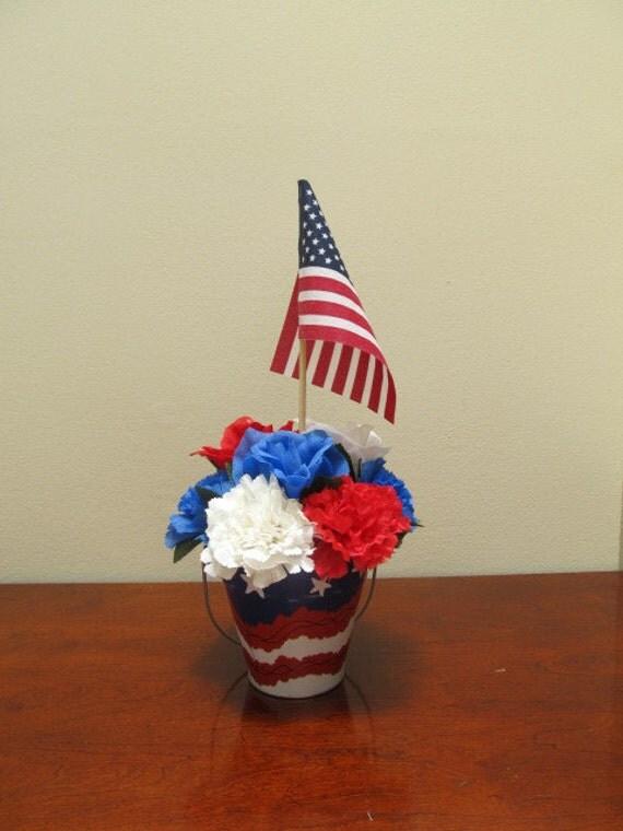 Patriotic flower arrangement by deessilkcreations on etsy