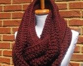 chunky cowl scarf,chunky scarf cowl,cowl chunky scarf,scarve scarf,crochet cowl scarf,Wine burgundy scarf(Choose any color below)