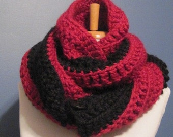 Two Tone scarf,  Red and Black Scarf Cowl Neckwarmer