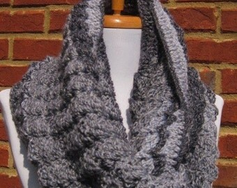 A gorgeous grey mix ( Light grey, charcoal grey and dark grey) Scarf cowl neckwrap neck warmer