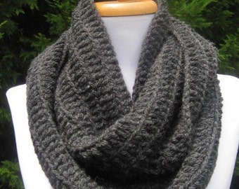 Scarf in  charcoal gray Scarf cowl neckwrap neck warmer