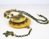 Necklace vintage style butterfly antique gold chain pendant gemstone steampunk yellow orange agate aventurine  victorian boho free shipping