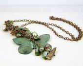 Necklace steampunk chain antique copper verdigris pendant valentines day butterfly green pearls tassle boho chic vintage style free shipping