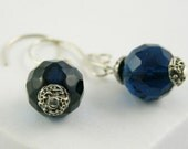 earrings dangle modern sterling silver and vintage czech crystal in teal blue free shipping