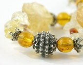 Bracelet citrine sterling silver yellow free shipping bold lightweight statement gemstone cluster november birthstone - PiaBarileJewelry