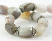 gemstone bracelet free shipping Botswana agate and sterling silver healing stones grey white one of a kind