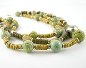 RESERVED - Necklace ceramic antiqued silver on ceramic tribal army olive green multistrand turquoise rough bamboo coral southwestern style