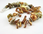 Necklace mother of pearl amber honey brown recycled glass silver ceramic sea beach tribal statement ooak unique teamt