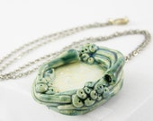 necklace porcelain choker ceramic pendant on silver chain organic fungi modern art nouveau nature teal blue white sea beach free shipping
