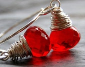 Earrings Handcrafted of Cherry Red Quartz Wire Wrapped Faceted Onion Briolettes on Handmade Sterling Silver Earwires