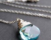 Pendant Necklace Handcrafted of Aqua Champagne Blue Swarovski Crystal Wire Wrapped Flat Pear Briolette Drop on Sterling Silver Cable Chain