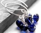Dark Blue Crystal Earrings, Indigo Swarovski Crystal Faceted Rondelle Clusters, Sterling Silver Chandelier