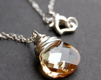 Golden Shadow Crystal Necklace, Swarovski Crystal Wire Wrapped Flat Pear Teardrop Pendant, Sterling Silver Cable Chain, Champagne, Gold